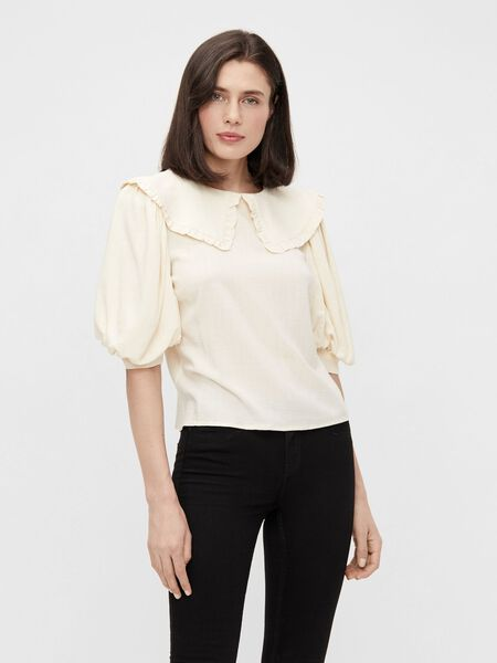 OVERSIZED COLLAR PUFF SLEEVED TOP