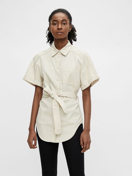 TIE BELT SHORT SLEEVED SHIRT