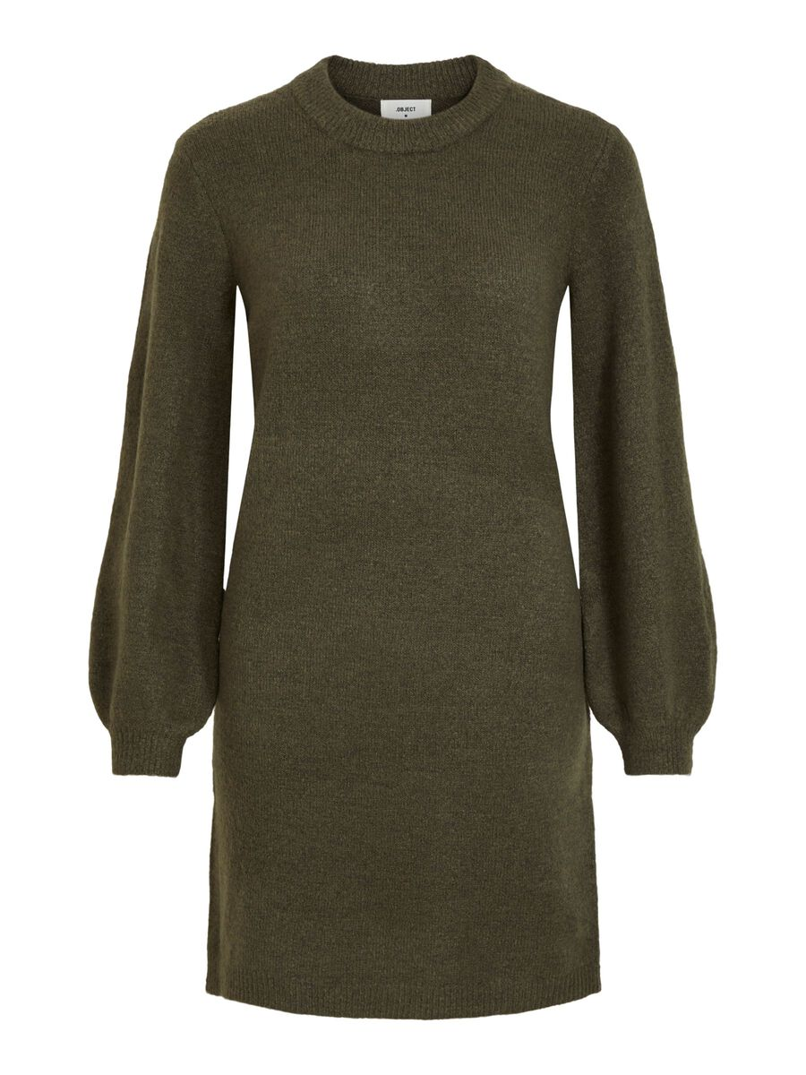 BALLOON SLEEVED KNITTED DRESS, Forest Night, highres