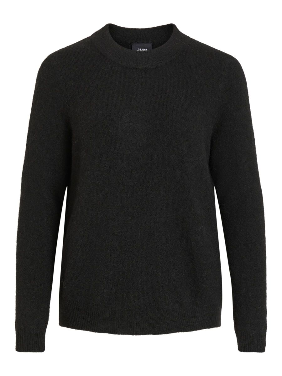 ROUND NECK KNITTED PULLOVER, Black, highres