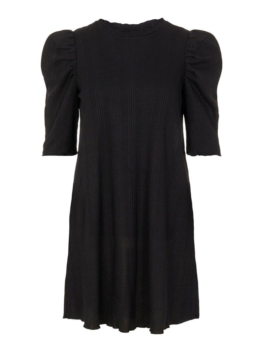 3/4 SLEEVED MINI DRESS, Black, highres