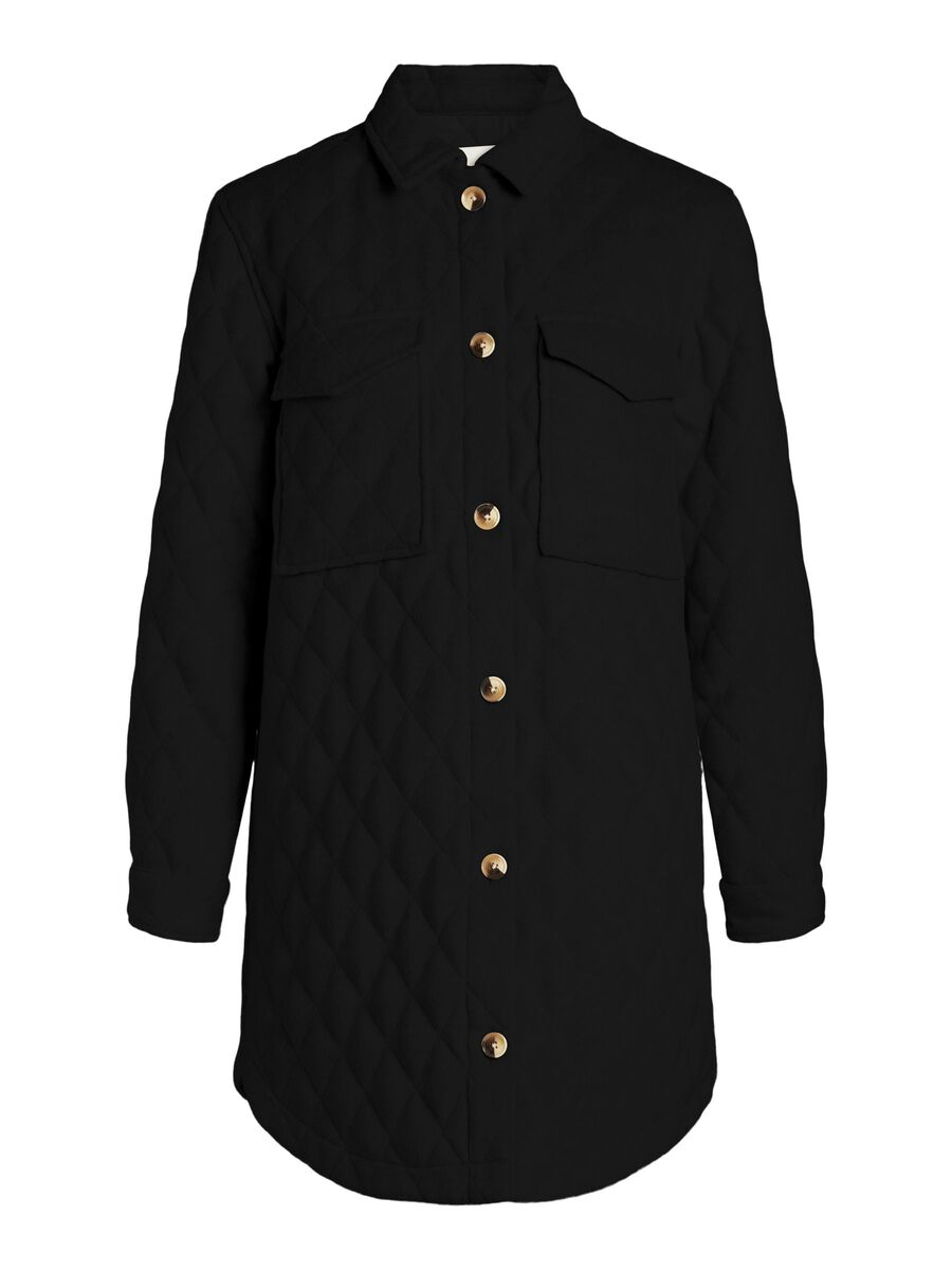 LONG QUILTED JACKET, Black, highres