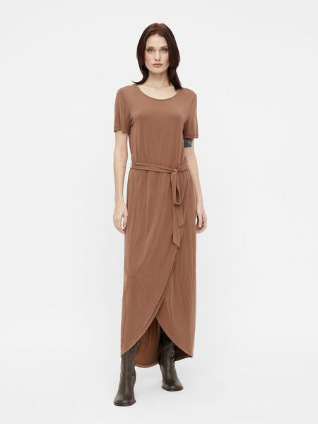 SHORT SLEEVED WAIST TIE MAXI DRESS