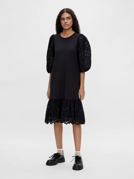 Object Collectors Item BRODERIE ANGLAISE PUFF SLEEVED DRESS, Black, highres - 23036910_Black_003.jpg