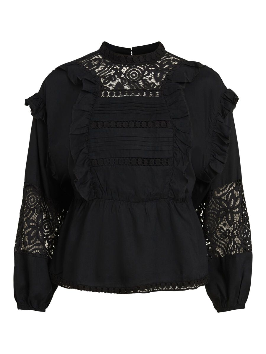 EMBROIDERED RUFFLE TOP, Black, highres