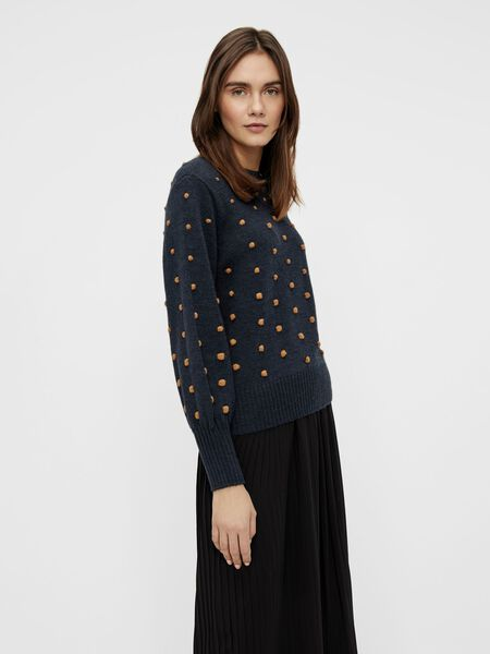RIB ROUND NECK KNITTED PULLOVER