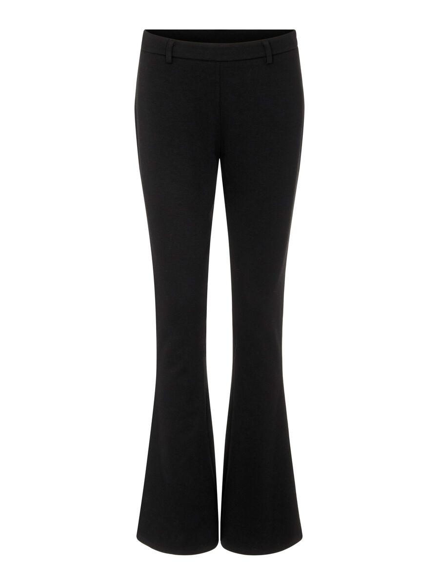 MID WAIST FLARED TROUSERS, Black, highres