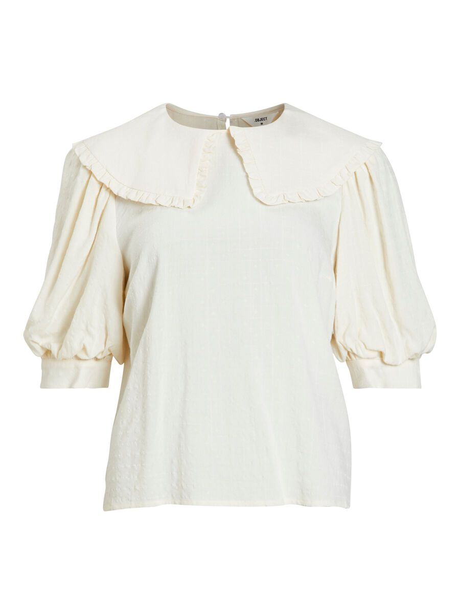 OVERSIZED COLLAR PUFF SLEEVED TOP, Sandshell, highres