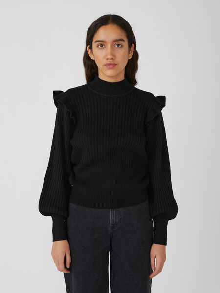 Object Collectors Item HIGH NECK KNITTED PULLOVER, Black, highres - 23036445_Black_003.jpg