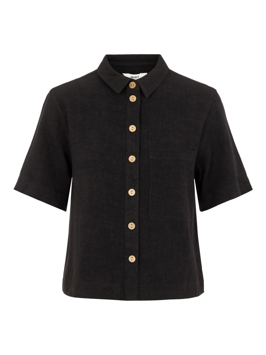 BUTTON-UP FRONT SHORT SLEEVED TOP, Black, highres