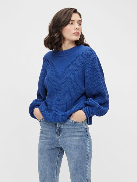 Object Collectors Item BALLOON SLEEVED KNITTED PULLOVER, Mazarine Blue, highres - 23036274_MazarineBlue_003.jpg