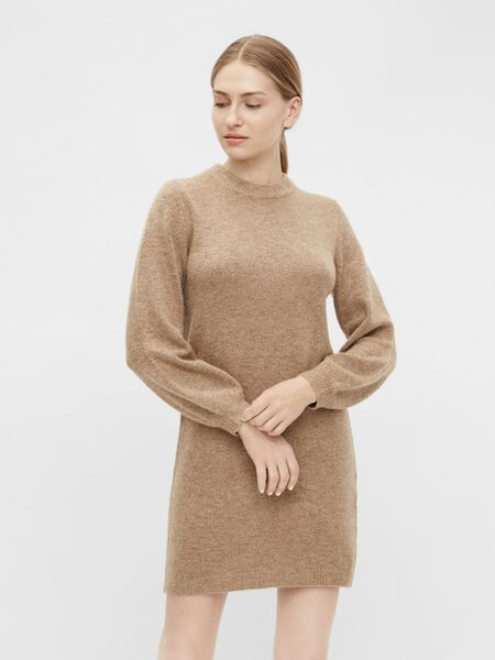 BALLOON SLEEVED KNITTED DRESS