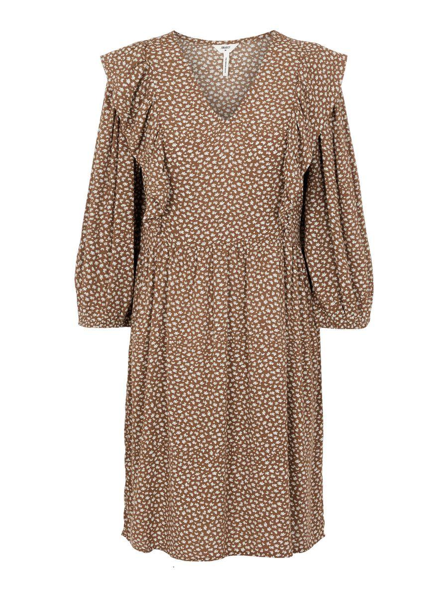 RUFFLE DETAIL MINI DRESS, Sepia, highres
