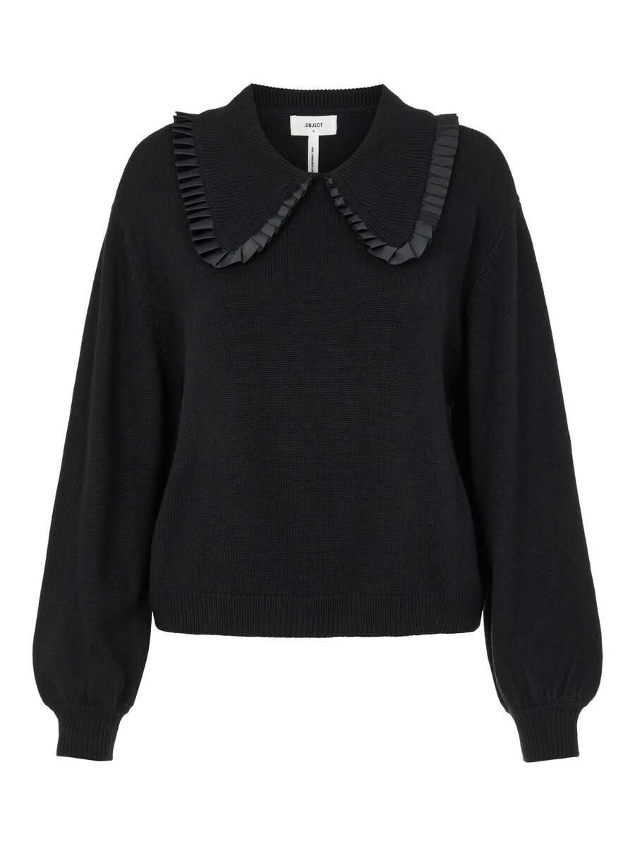 OVERSIZED COLLAR KNITTED PULLOVER, Black, highres