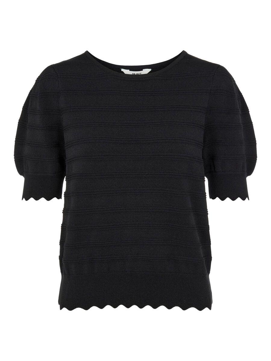 Object Collectors Item KNITTED SHORT SLEEVED TOP, Black, highres - 23035239_Black_001.jpg