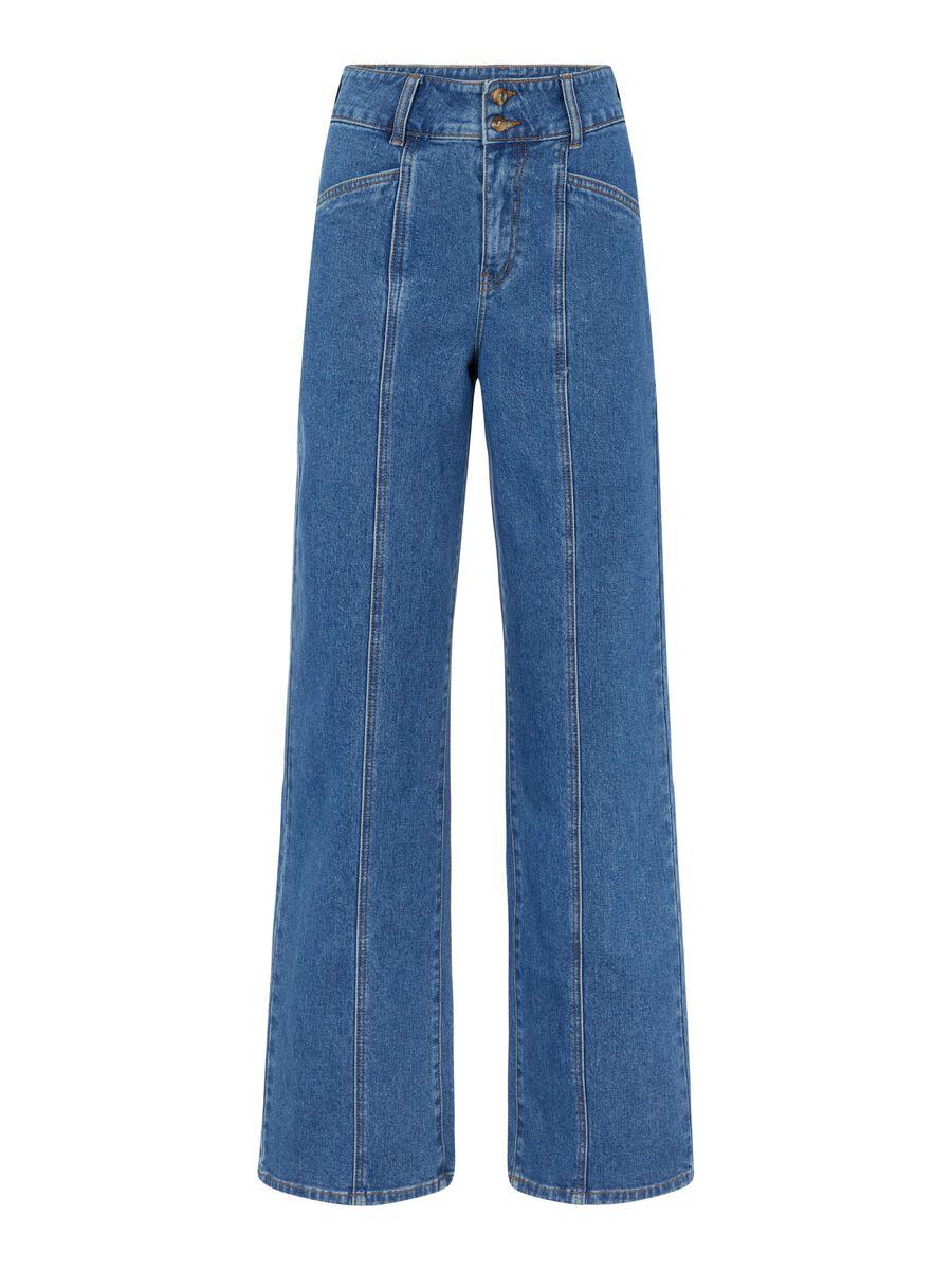 WIDE LEG HIGH WAISTED JEANS, Medium Blue Denim, highres
