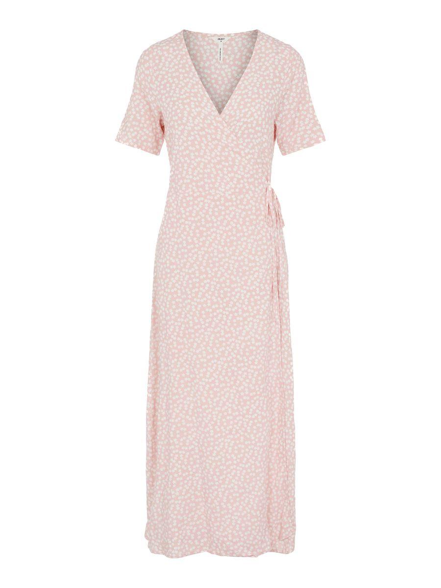 PRINTED WRAP DRESS, Quartz Pink, highres