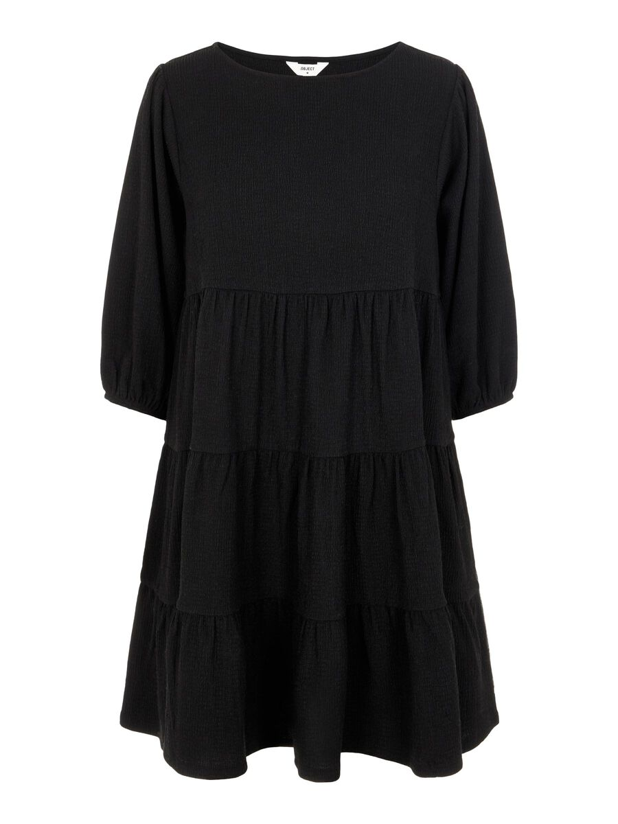 3/4 SLEEVED DRESS, Black, highres