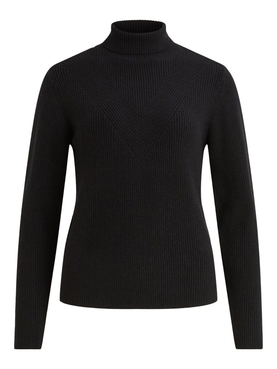 ROLL NECK KNITTED PULLOVER, Black, highres