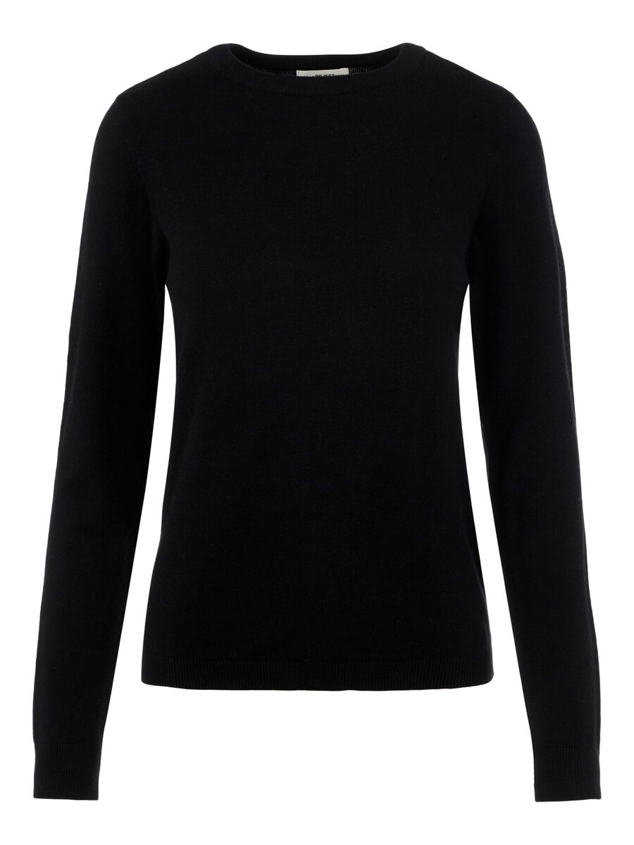 O-NECK KNITTED PULLOVER, Black, highres