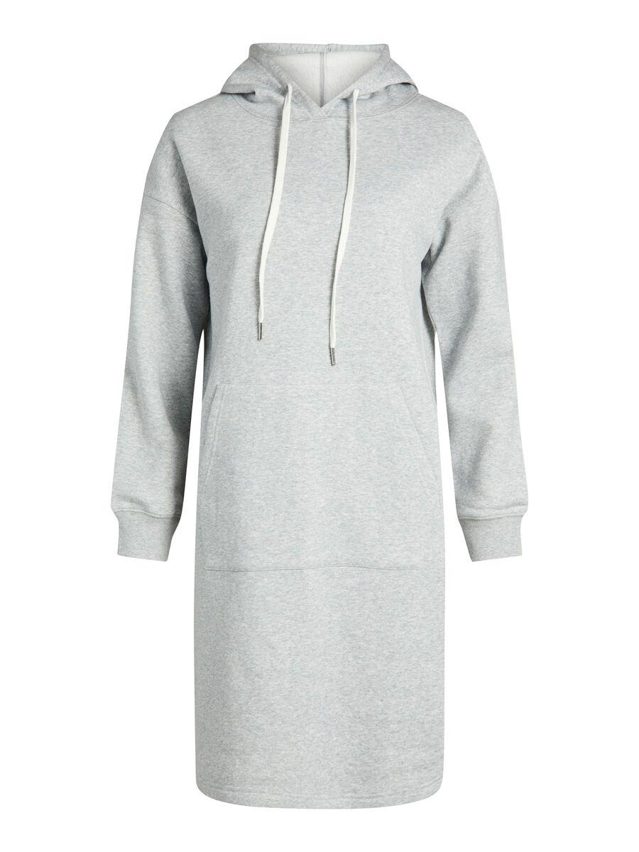 Object Collectors Item HOODED SWEATER DRESS, Light Grey Melange, highres - 23035751_LightGreyMelange_001.jpg
