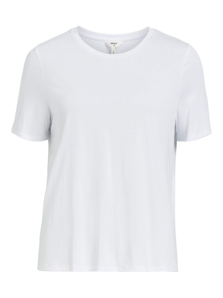 ROUND NECKLINE T-SHIRT, White, highres