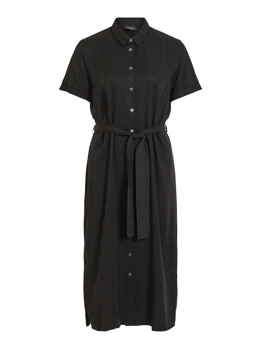 WAIST TIE MIDI DRESS, Black, highres