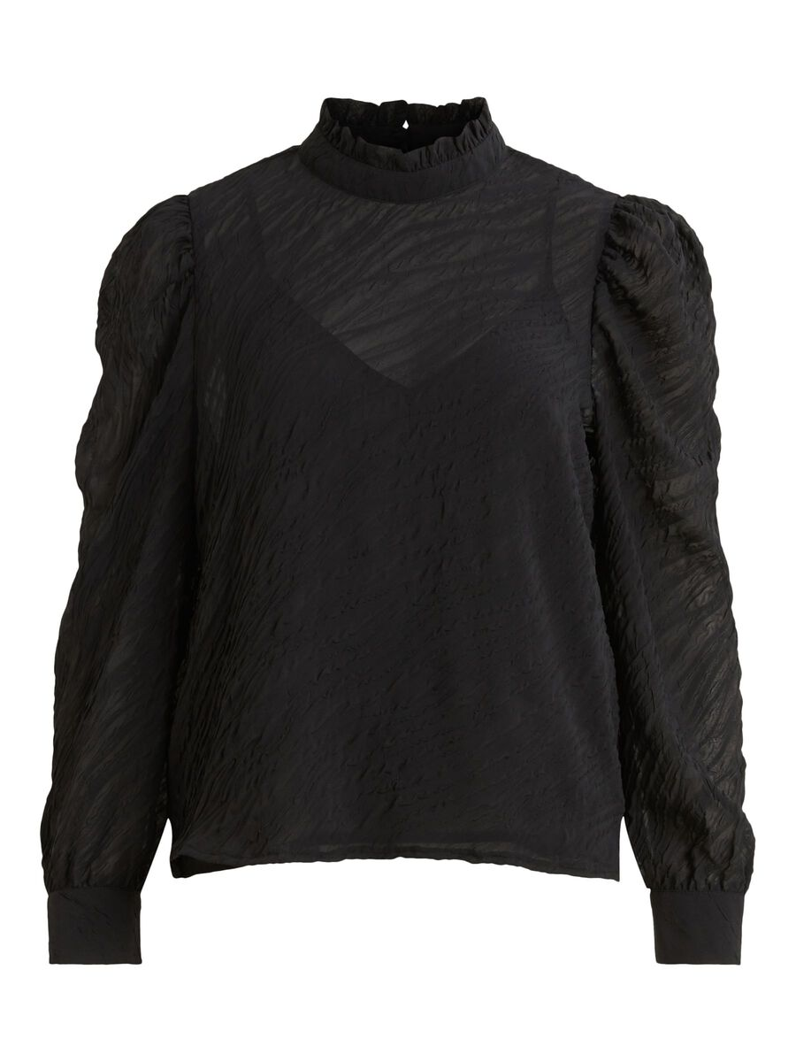 MANCHES BOUFFANTES, COL MONTANT TOP, Black, highres