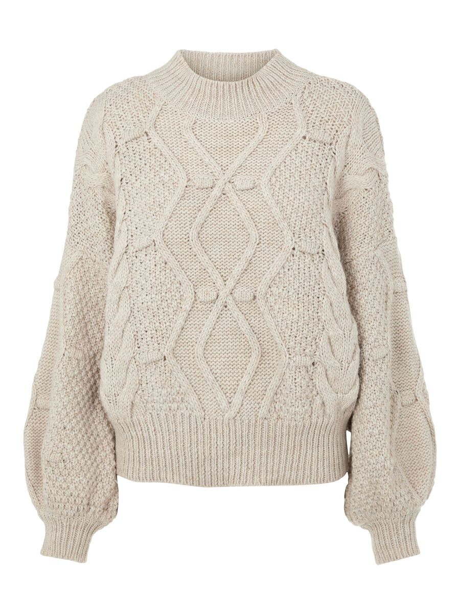 CABLE KNIT JUMPER, Silver Gray, highres