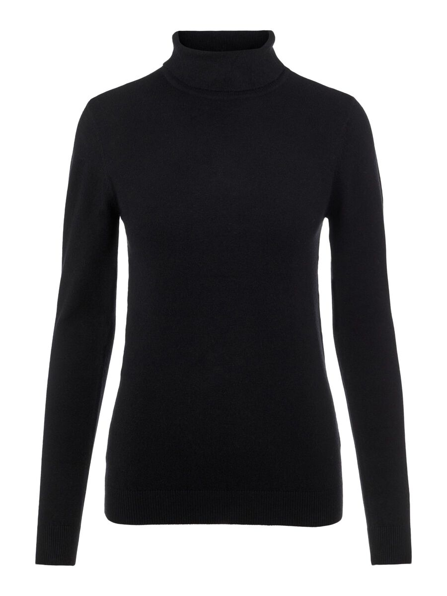 HIGH NECK KNITTED PULLOVER, Black, highres