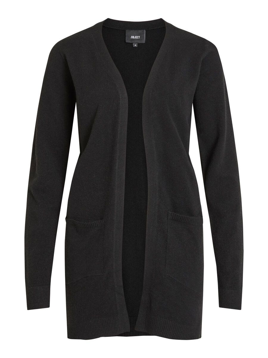 LONG, KNITTED CARDIGAN, Black, highres
