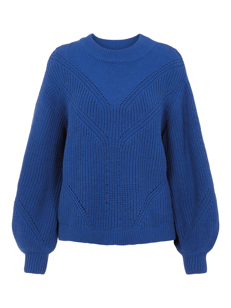 BALLOON SLEEVED KNITTED PULLOVER, Mazarine Blue, highres