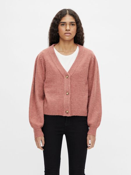 BALLOON SLEEVED KNITTED CARDIGAN