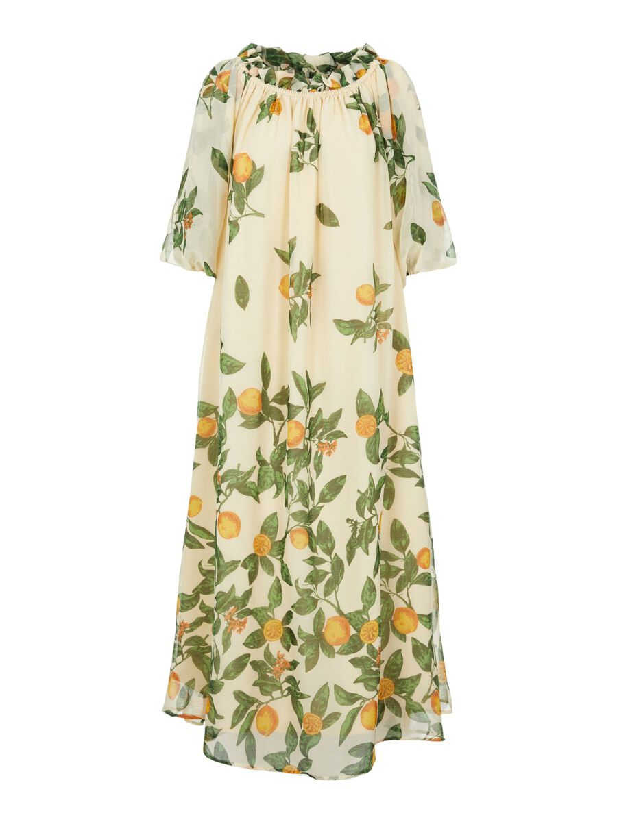 LEMON PRINT MAXI DRESS, Sandshell, highres