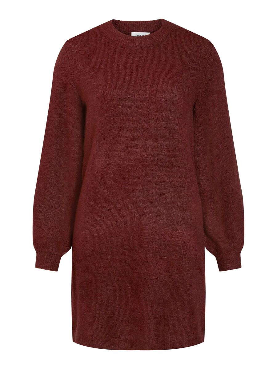 BALLOON SLEEVED KNITTED DRESS, Port Royale, highres