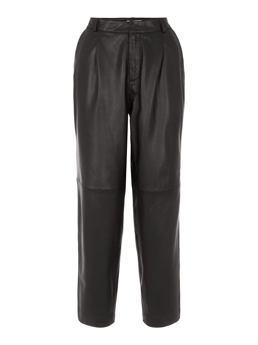 Object Collectors Item HIGH WAISTED LEATHER TROUSERS, Black, highres - 23035258_Black_001.jpg