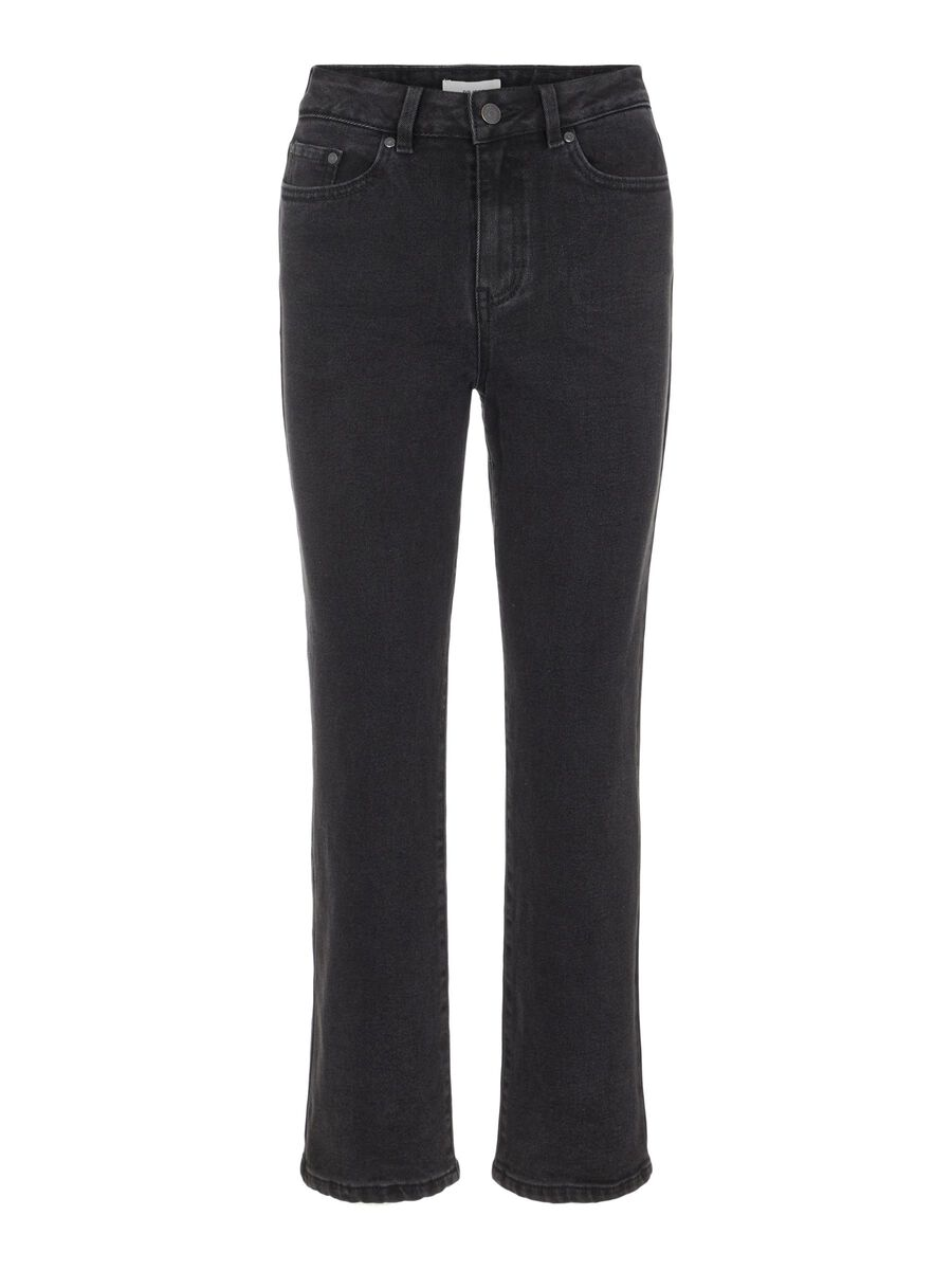 HIGH WAISTED WIDE FIT JEANS, Black, highres