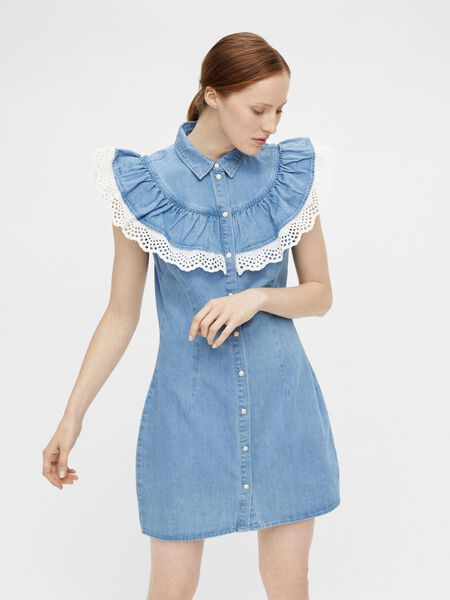 FLOUNCE DETAIL DENIM DRESS