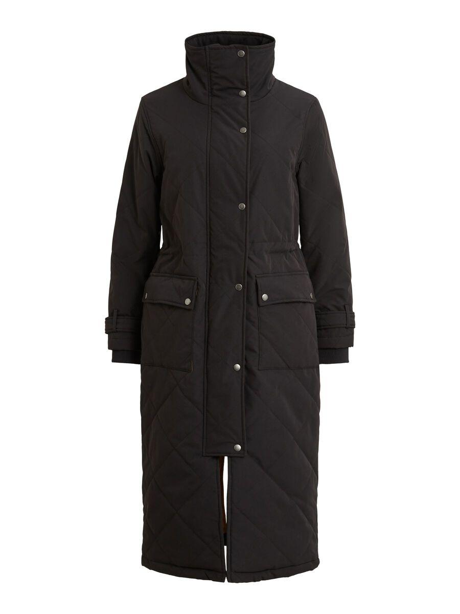 QUILTED HIGH NECK COAT, Black, highres