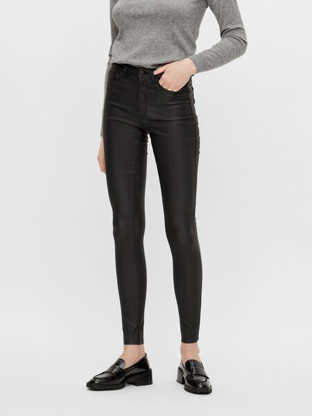 COATED SLIM FIT TROUSERS