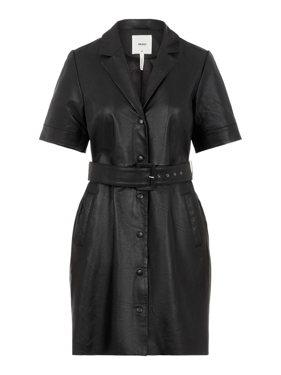 Object Collectors Item SHORT SLEEVED LEATHER DRESS, Black, highres - 23035259_Black_001.jpg