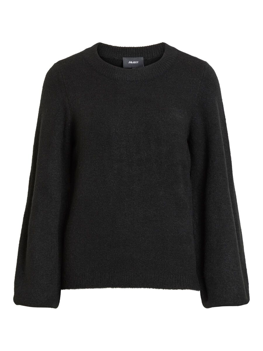 Object Collectors Item BALLOON SLEEVED KNITTED PULLOVER, Black, highres - 23027064_Black_001.jpg