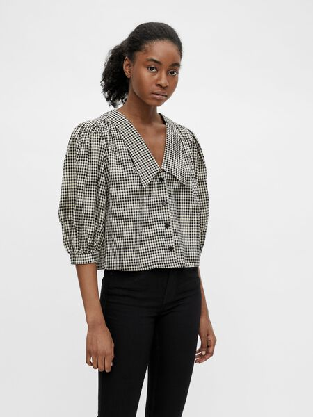 CHECKED PUFF SLEEVED TOP