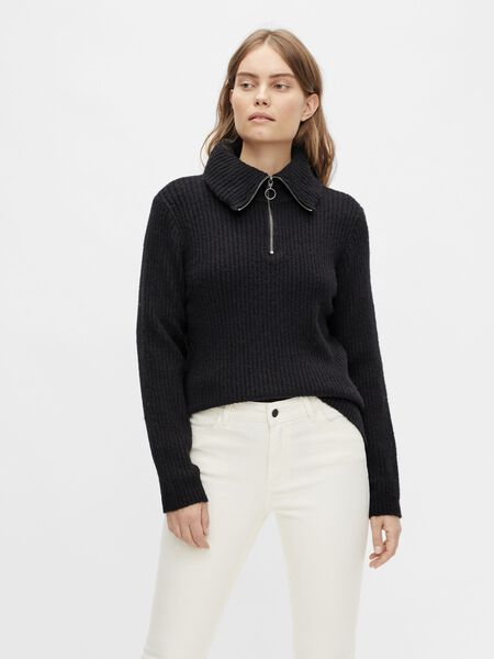 Object Collectors Item ROLL NECK ZIP KNITTED PULLOVER, Black, highres - 23034740_Black_910982_003.jpg