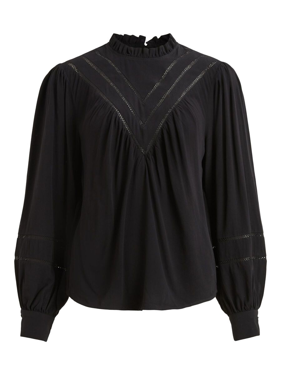 LACE LONG SLEEVED BLOUSE, Black, highres