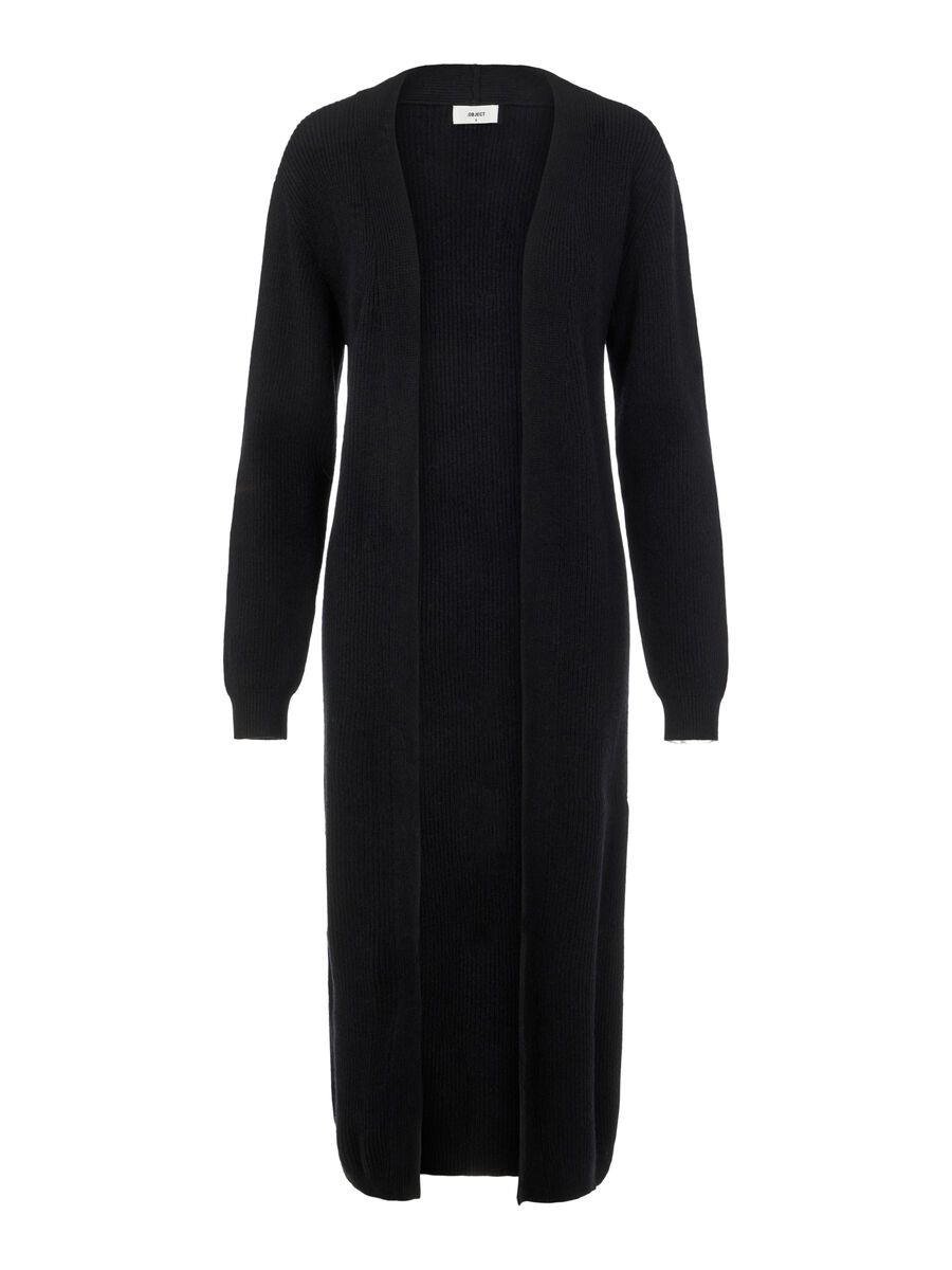 LONG KNITTED CARDIGAN, Black, highres