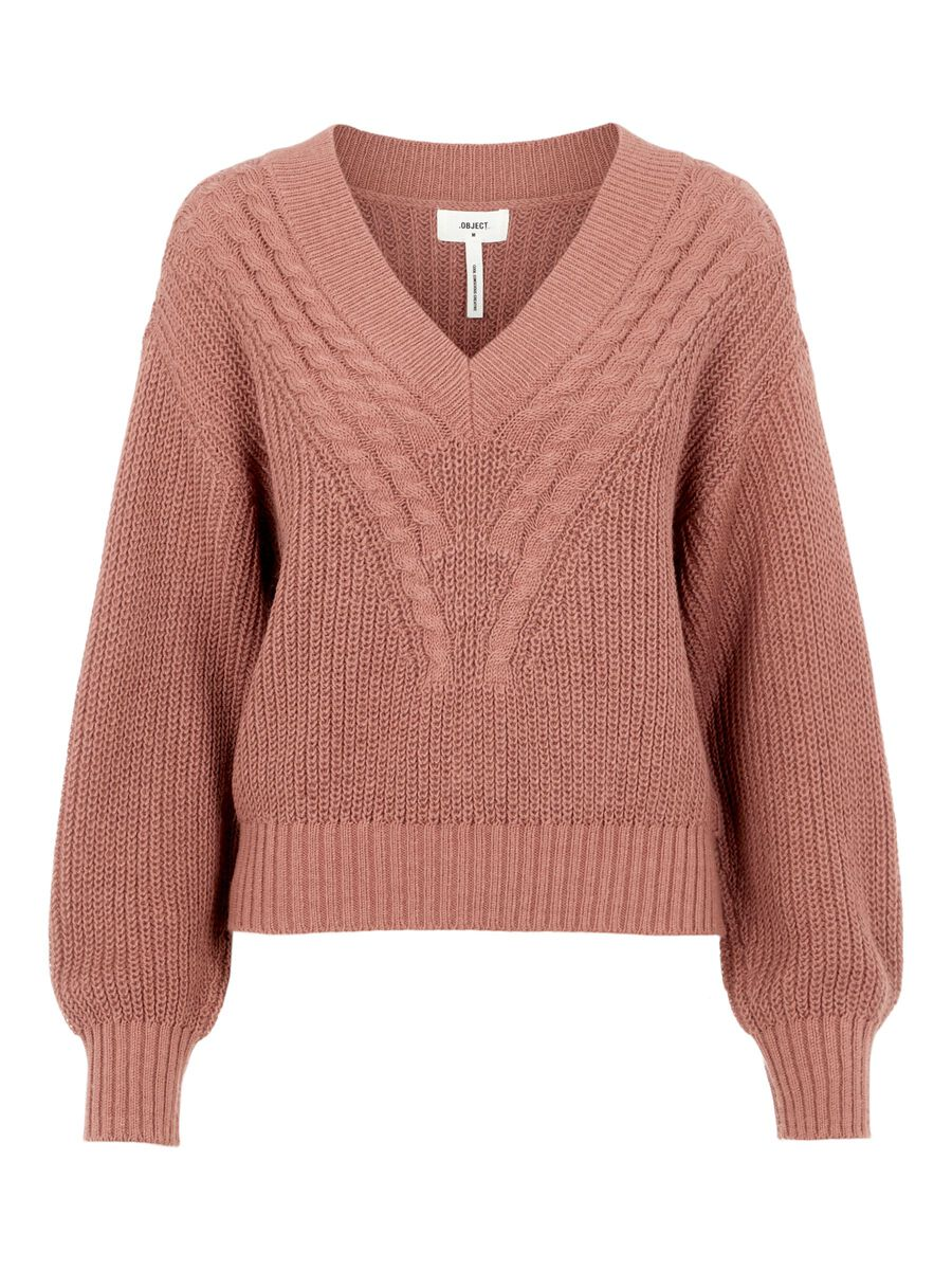 V-NECK KNITTED PULLOVER, Withered Rose, highres