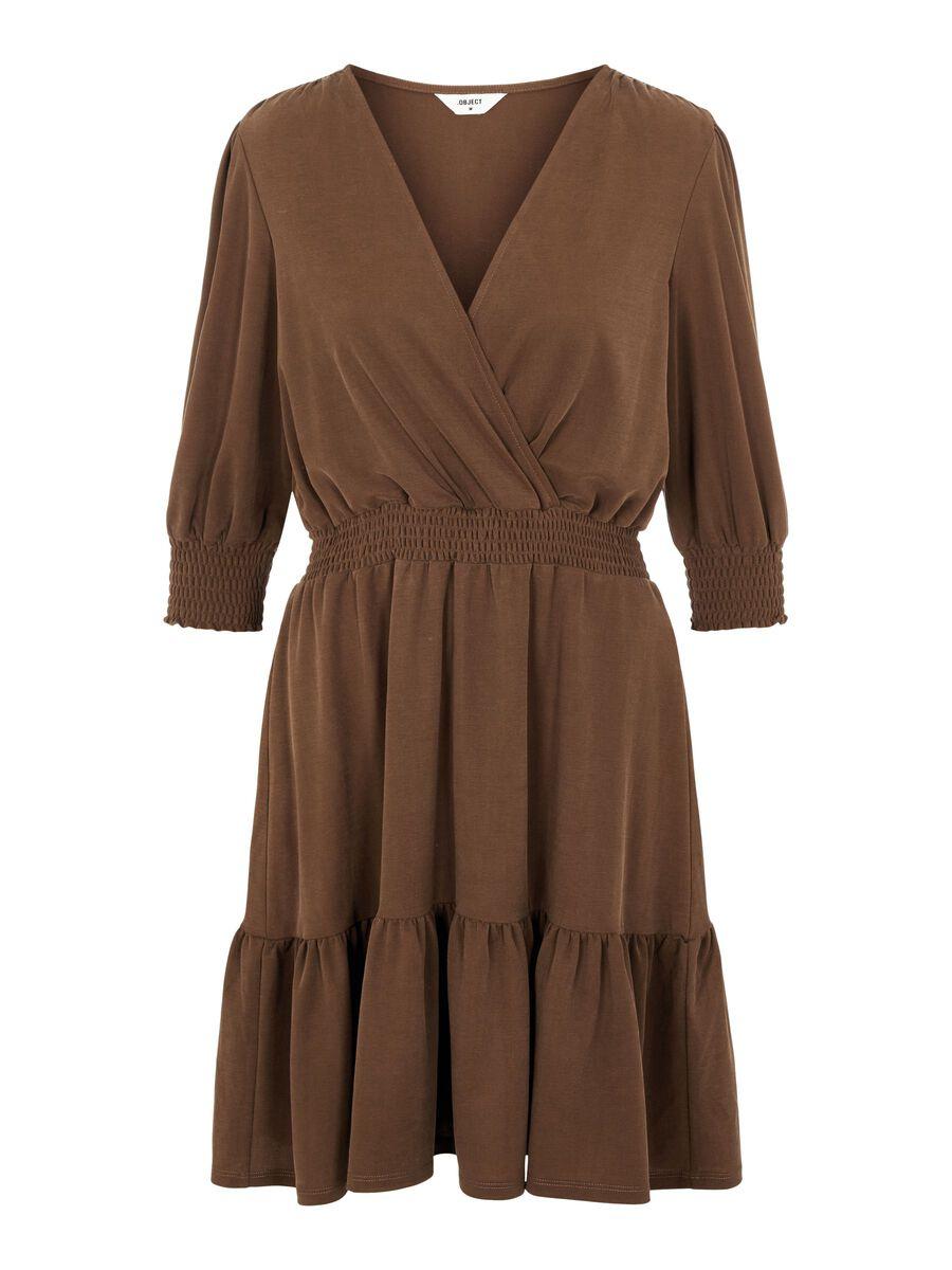 WRAP EFFECT MINI DRESS, Sepia, highres