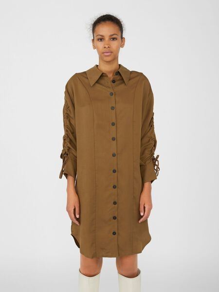 Object Collectors Item RUCHED SLEEVE DRESS, Sepia, highres - 23037866_Sepia_003.jpg