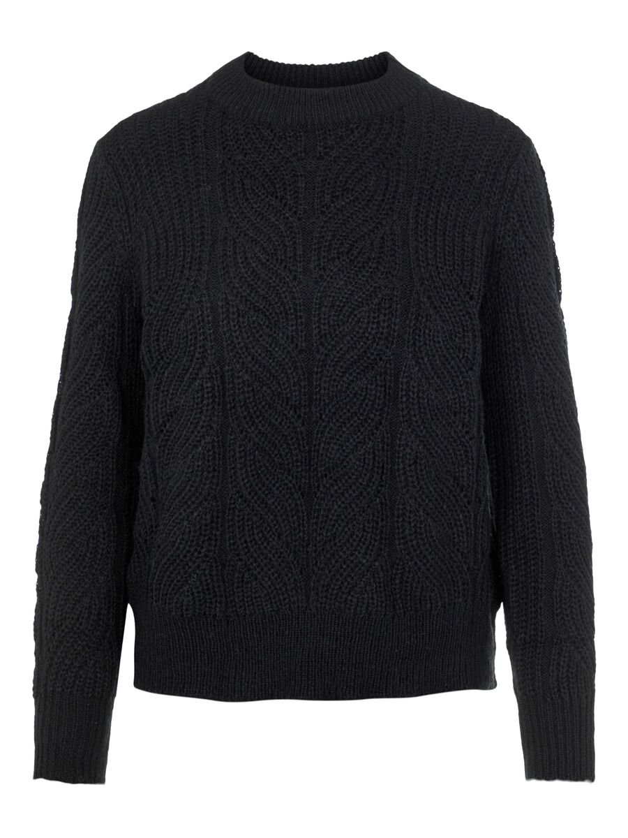 MANCHES LONGUES PULL EN MAILLE, Black, highres